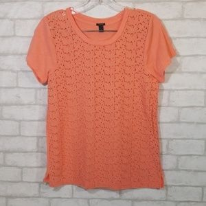 J.Crew coral cut out detail blouse size small